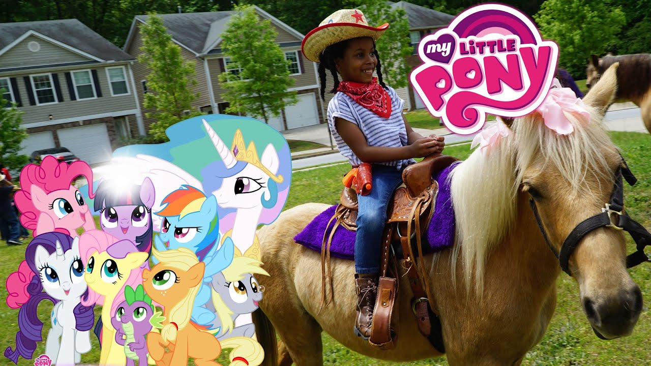 riding real my little pony ponies in backyard youtube