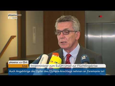 Thomas de Maizière zum EuGH-Urteil über die Flüchtlingsverteilung in Europa am 06.09.17