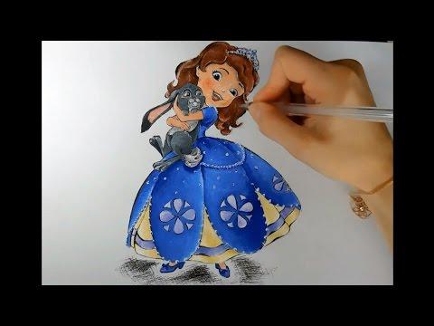 Рисуем гуашью: Принцесса София и кролик Клевер. Мульт София прекрасная.