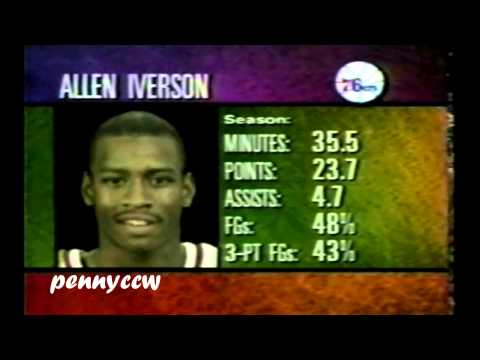 Allen Iverson 24pts vs Damon Stoudamire the Raptors 96/97 NBA *AI Rookie year