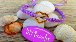 DIY Bracelet! Bracelet Making Tutorial with String and a Heart Charm(, 2013-09-28T01:25:31.000Z)