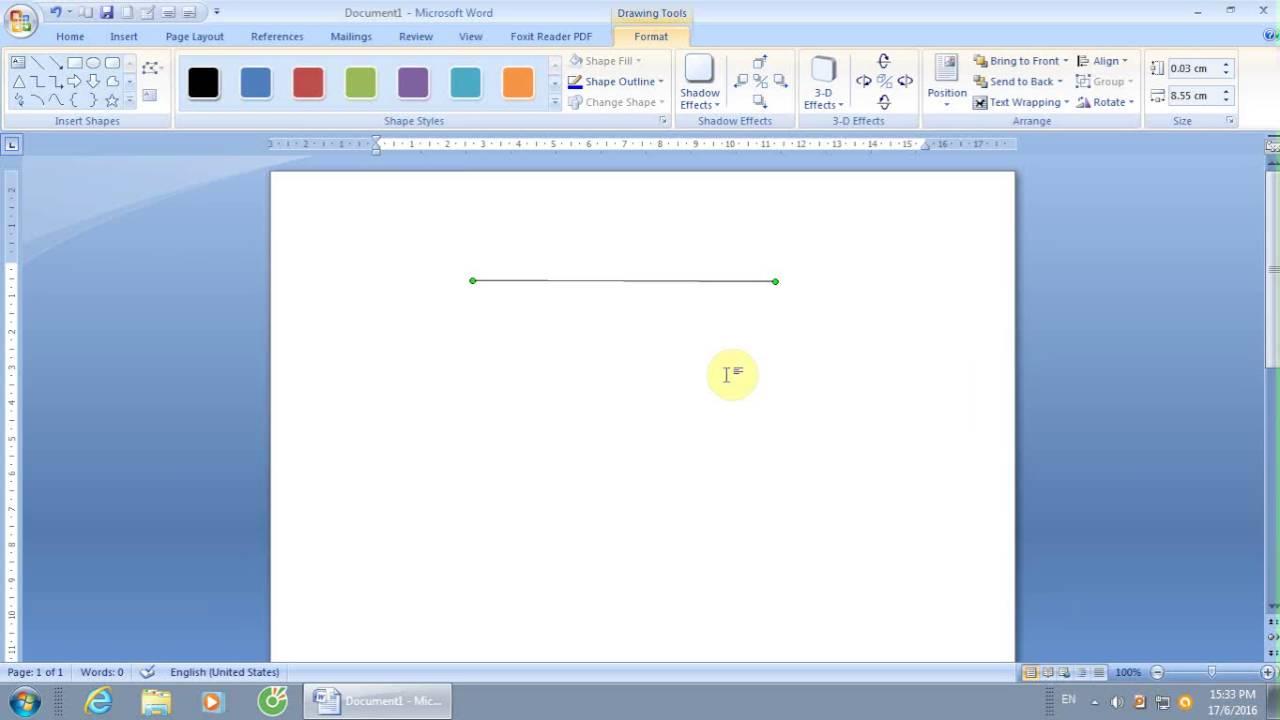 cách kẻ đoạn thẳng dùng công cụ drawing  trong Word 2007- 2010