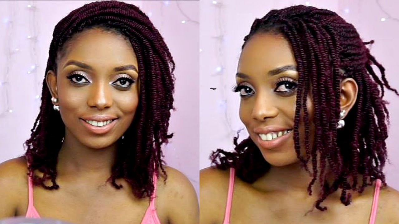 Natural Hair Styles With Marley Hair: How To Kinky Twists Crochet Braids Tutorial On Short