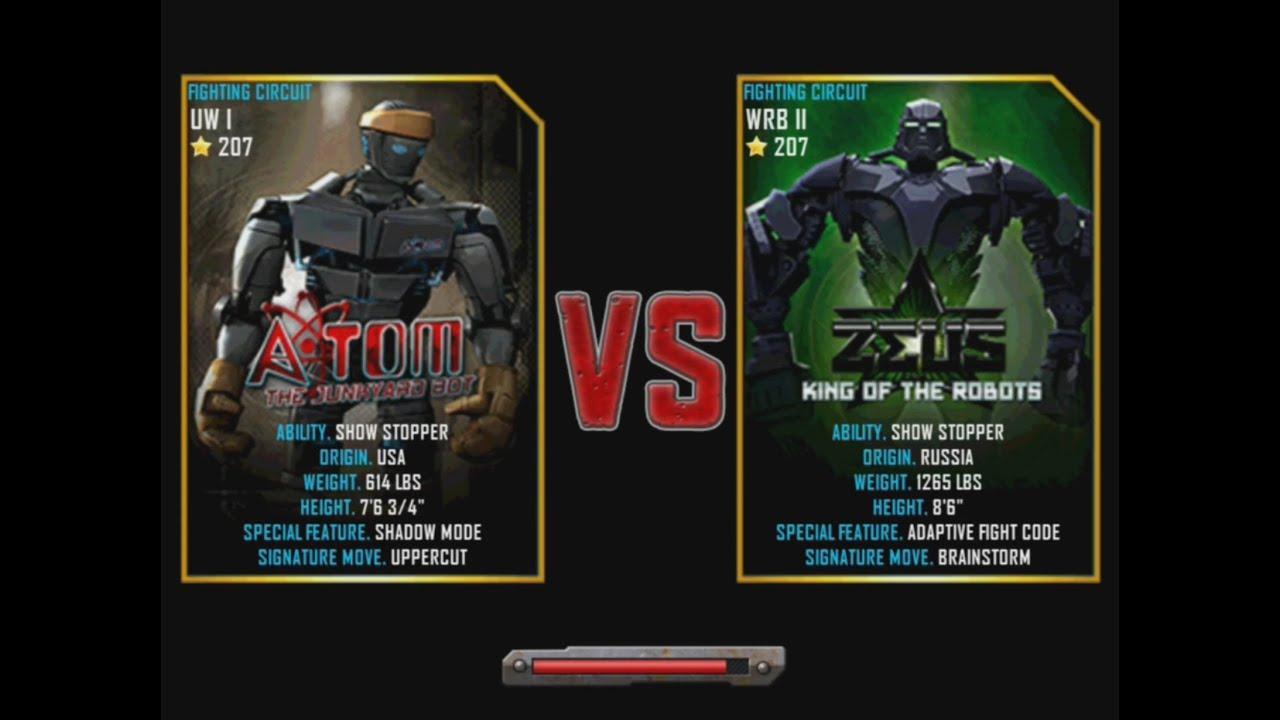 real steel wrb atom vs zeus (champion) new graphics blows - youtube