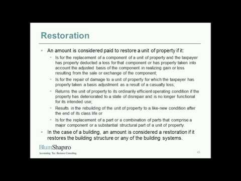 Tangible Property Regulations Webinar Part 4: Repairs and Ma