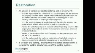 Tangible Property Regulations Webinar Part 4: Repairs and Maintenance vs. Improvement