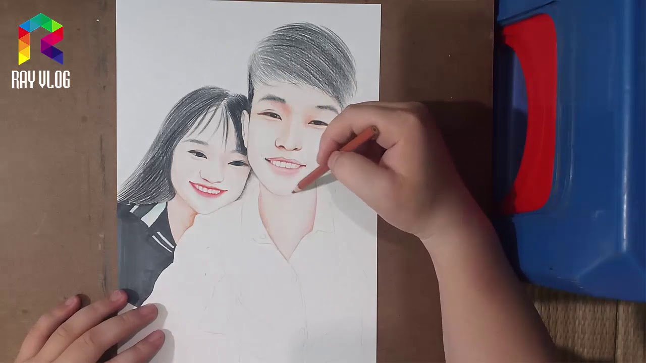 Vẽ Tranh Chân Dung | Portrait Painting | Draw A Picture | Ray Vlog
