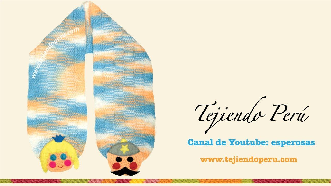 Bufanda y gorrito para niños tejido en dos agujas y crochet (parte 3 ...