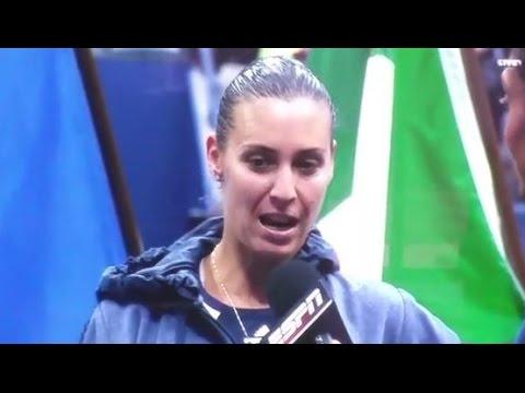 2015 US Open Champion Flavia Pennetta Post-match Speech And Retirement Announcement (partial)