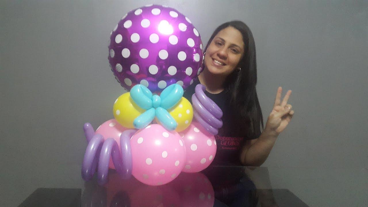 Como hacer un centro de mesa con globos paso a paso youtube for Decoracion de globos para fiestas infantiles paso a paso
