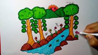 วาดรูปธรรมชาติ พร้อมระบายสี