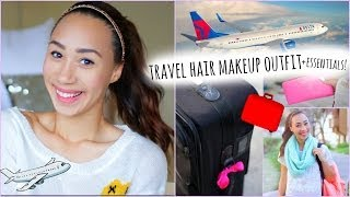 Airplane/Travel Hair Makeup Outfit + What to Pack In Your Carry On!