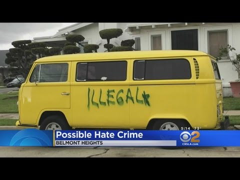 Vandal Spray Paints 'Illegal' On Long Beach Man's Van And He Didn't Get it Was A Hate Ctime