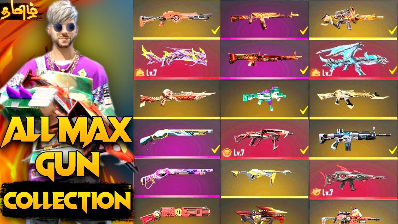 A TO Z ALL GUN SKINS WITH 900 BADGE 😮 ID COLLECTION   TOP UP பைத்தியம் போல 😂😂   IVL GAMING YT #ivl