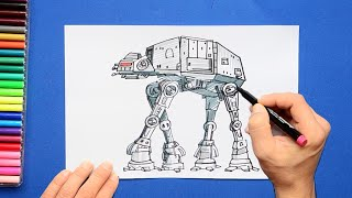 How to draw and color All Terrain Armored Transport (AT - AT) Walker - Star Wars Series