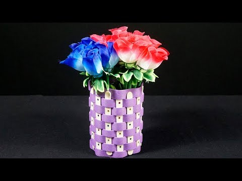 Diy Flower Vase with Plastic Bottle | Diy Flower Vase with Icecream Sticks