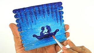 Simple Painting on Ice Cream Sticks for kids