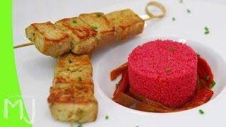 PINCHITOS CASEROS CON COUS-COUS DE REMOLACHA | Con carne de cerdo ¡Buenísimos!