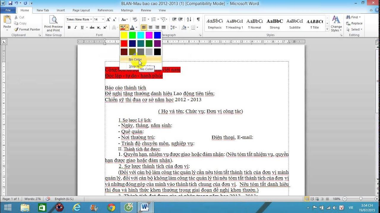 Định dạng Font chữ văn bản trong Word 2007, Word 2010, Word 2013