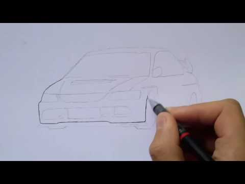 How to draw ( JDM CARS ) { EVO 9 } ☆ WISSAM TUNING ☆ #1