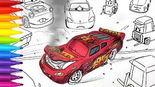 Draw CARS 3 LIGHTNING McQUEEN's Crash Behind The Scene . Drawing and coloring for kids | Tim Tim TV