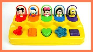 玩迪士尼 米奇妙妙屋 米奇 米妮 高飛 唐老鴨 布魯托 彈出式腳色 學習顏色 數字 玩具開箱