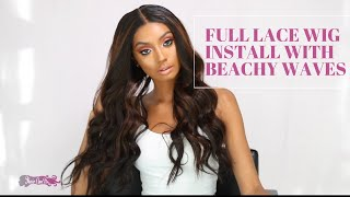 FULL LACE WIG INSTALL WITH BEACHY WAVES
