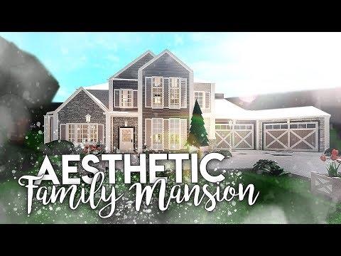 Roblox Bloxburg Aesthetic Family Mansion House Build Youtube