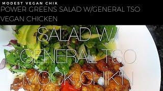 Trader Joes Power Greens Salad & Whole Foods General Tso Vegan Chicken
