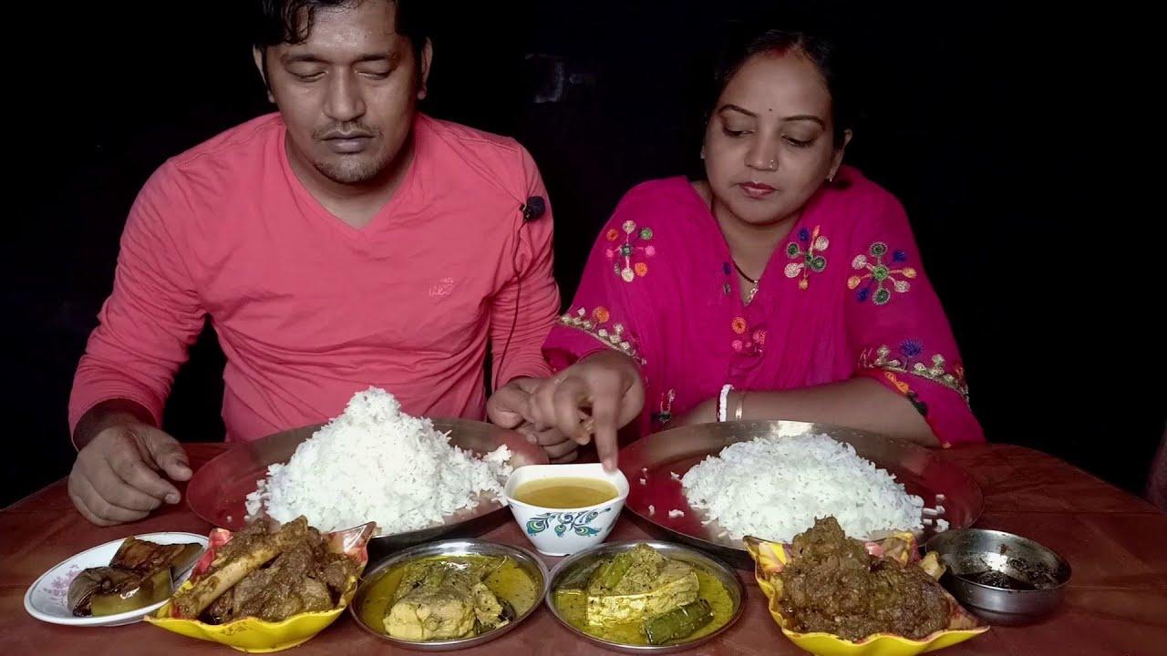 Hilsa Tel Diea Bapok Khelam | Tasty Eating Menu Rice with Kacha Ilish Begun Jhal | Mutton Kosha
