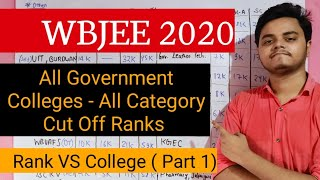 Rank Vs College Part 1 | All Government College of Wbjee | Wbjee 2020 | Wbjee Rank Vs College