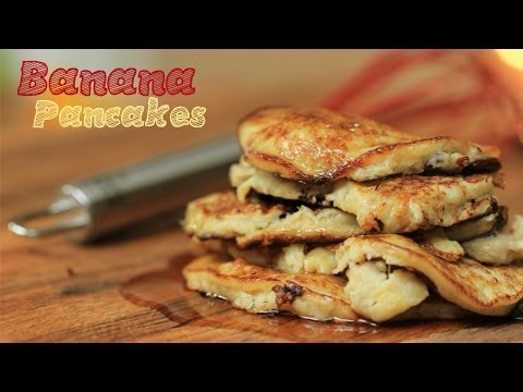 Banana Chocolate Chip Pancakes - 3 Ingredient World's Easiest (Flourless, No Dairy)