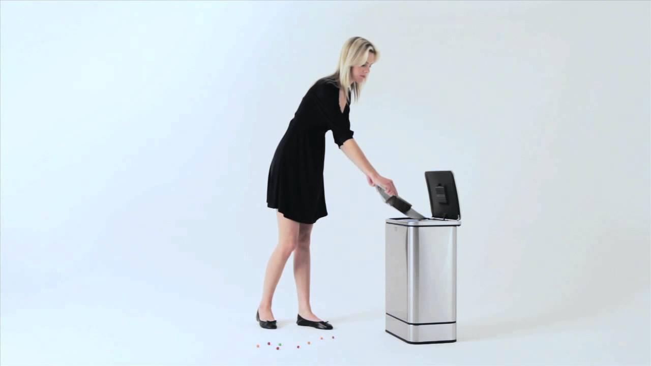 simplehuman stainless rectangular 40-liter sensor trash can at bed