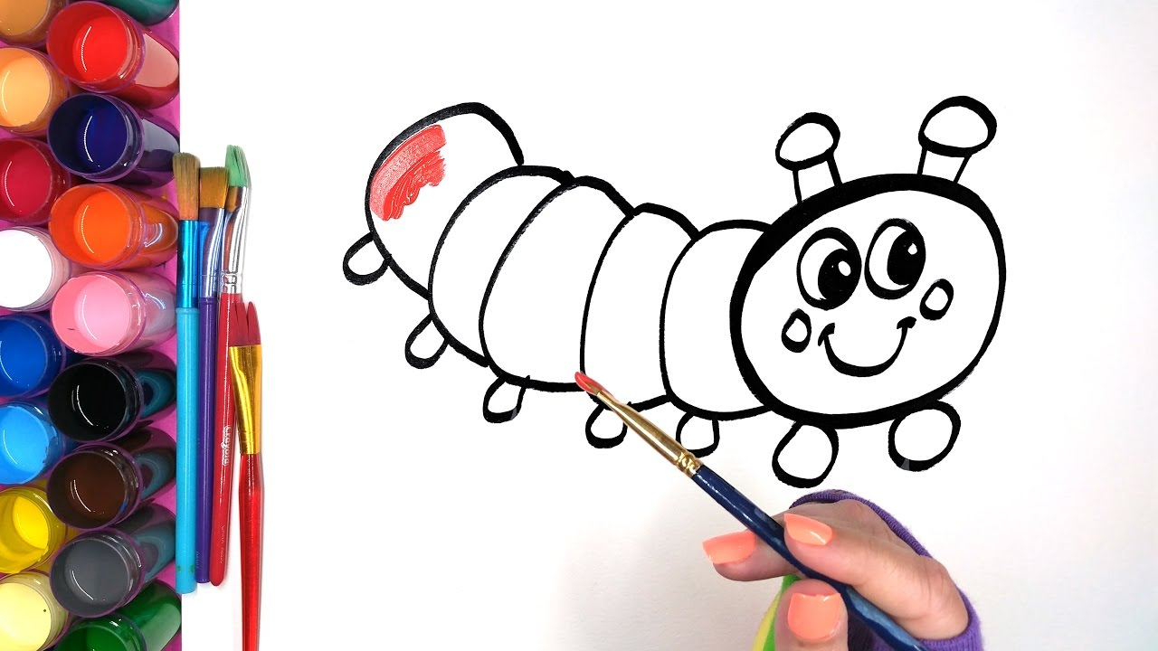 coloring a caterpillar hand drawn painting page children can