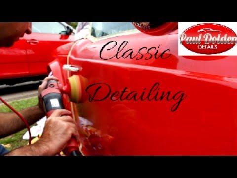 Machine polishing a classic car