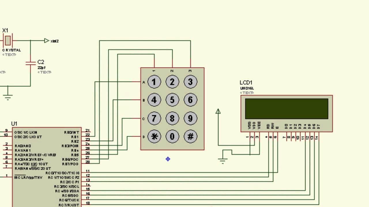PIC 16F876A CCS PROTEUS EJEMPLO 5 (TECLADO Y DISPLAY LCD