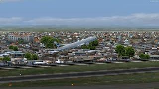 P3D v3.35 Cathay 934 B77W takeoff at Manila and landing at Hong kong with wing and tower view