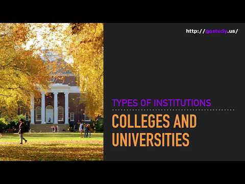 Types of Institutions: Colleges and universities