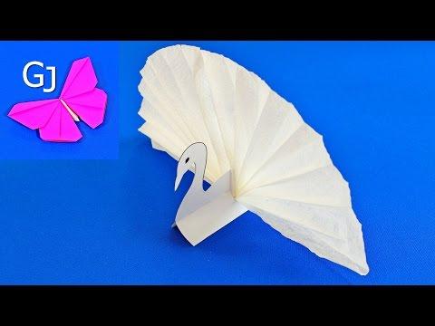 Оригами из бумаги Подставка под салфетки ЛЕБЕДЬ