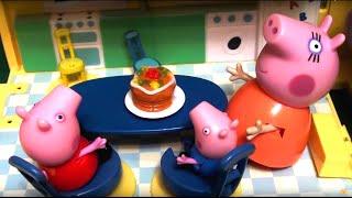 Peppa Pig свинка Пеппа и ее семья. Мультфильм для детей. Готовим пирог на День Рождения бабушке