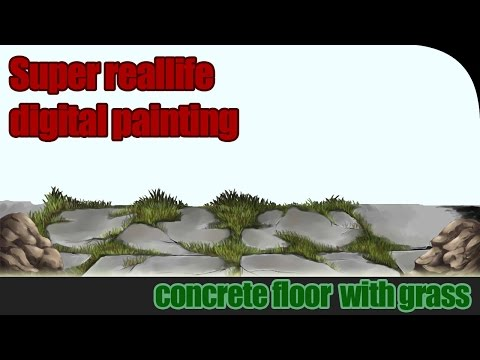 Super reallife digital painting : Concrete floor with grass
