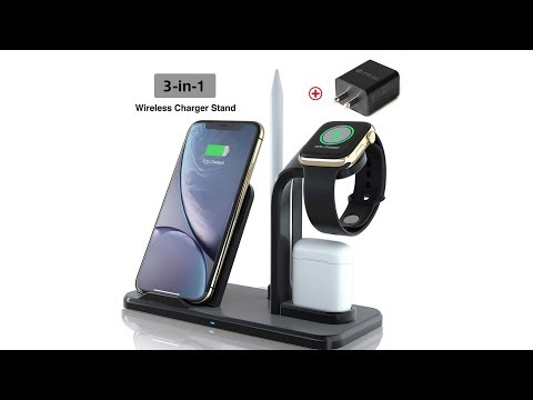 Wireless Charger, Qi Fast 3 in 1 Wireless Charging Station for Apple Watch iPhone