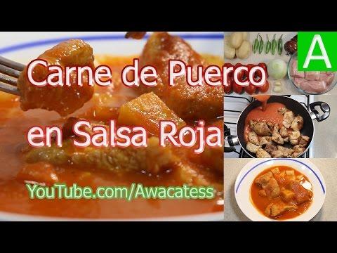 Receta de carne de puerco en salsa roja o cerdo como for Canal cocina mexicana