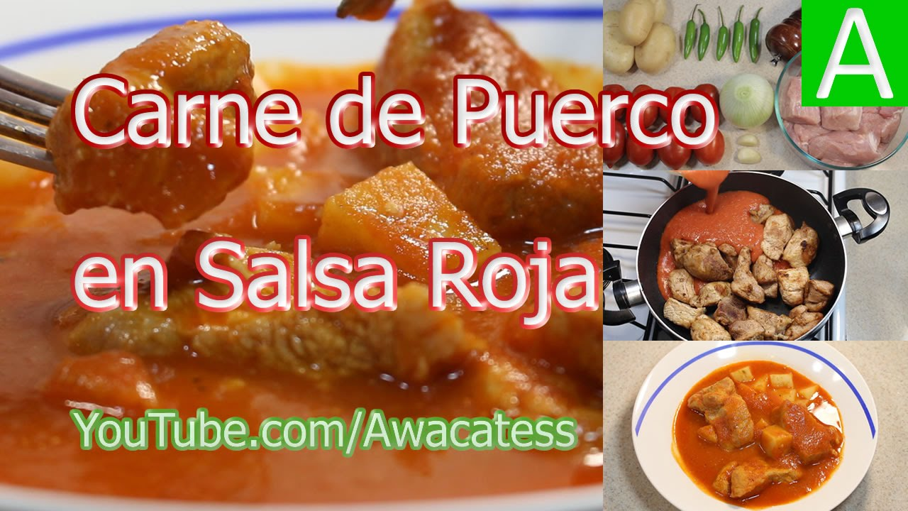 Receta de Carne de Puerco en Salsa Roja o Cerdo Como