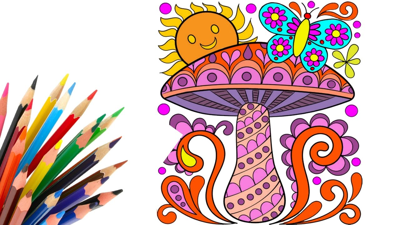 coloring pages mushroom and sun coloring book coloring video fun