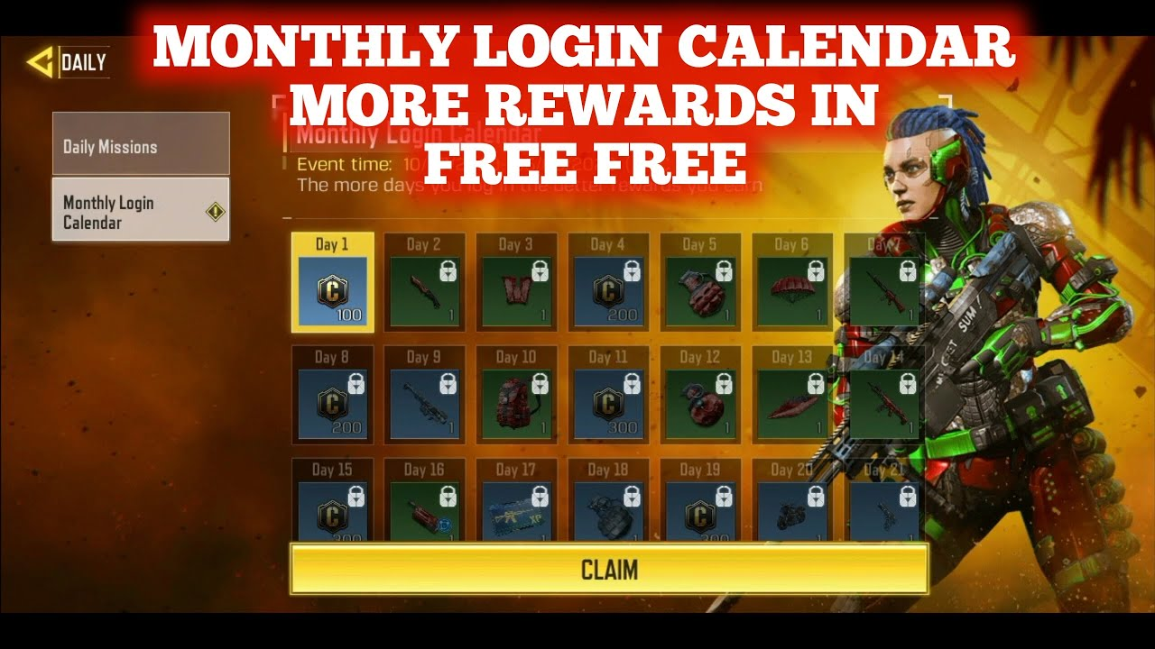 Monthly Login Calendar Free Character Skin And More Rewards Free Call Of Duty Mobile Season 8 Youtube