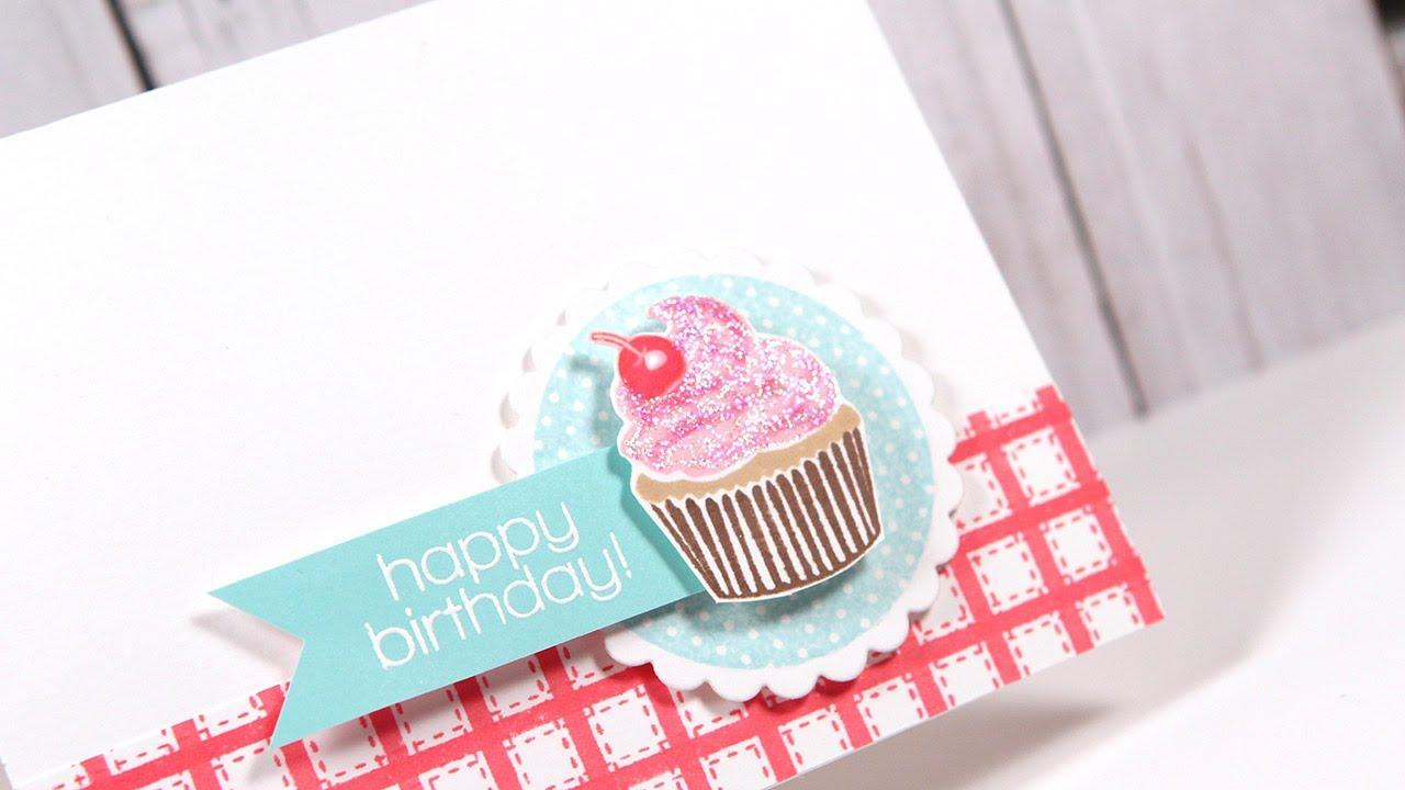 Happy Birthday Cupcake Make a Card Monday 224 YouTube – Cupcake Birthday Cards