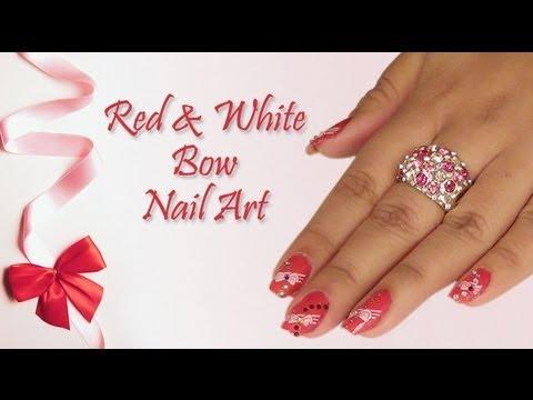 Red White Bow Nail Art Design Do It Yourself Khoobsurati