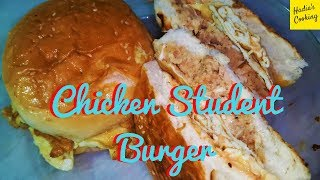 Student Chicken Burger Recipe | How To Make Chicken Student Burger | Hadia