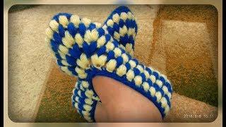 Домашние тапочки - следочки, вязание крючком